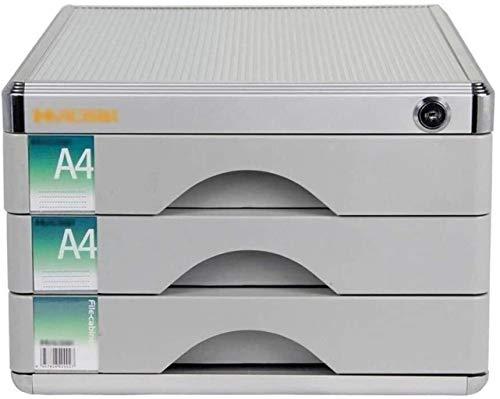 Archivador de almacenamiento multifuncional, archivadores planos, archivadores de datos con cerraduras, tipo antitropiezos, metal macizo A4, archivador archivador (tamaño: plateado)