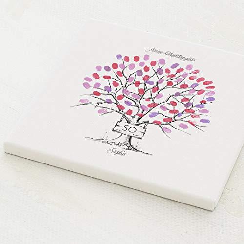 sendmoments Fingerabdruck Leinwand, Birthday Tree, quadratisch 30x30 cm, personalisiert mit Text, kreative Verewigung der Gäste, originelles Gästebuch zum Geburtstag, optional mit Stempelkissen