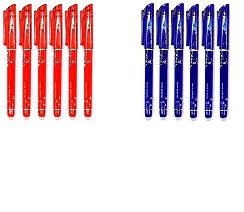RHardware 12 bolígrafos de tinta roja, azul, borrable de gel, 0,5mm papelería escolar