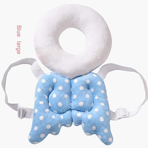 HQSF Baby-Kopf Schützen Kissen,Baby Kopfschutz Pad,Kinderschutz Flügel-Netter Baby-Kopf Cap Fallschutz Schutzpolster Für Baby-Wanderer, Verstellbare Infant Sicherheit Pads Angel Large Blue
