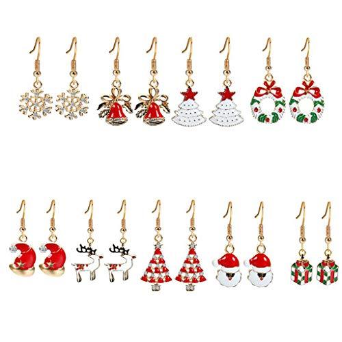VEED Christmas Theme Pendientes Colgantes Set Snowflake Santa Claus Christmas Tree Jewelry