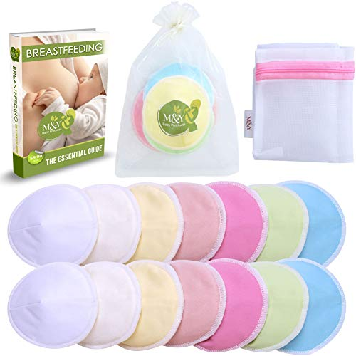 M&Y Organic Bamboo Nursing Pads (14 Pads + 3 Bonuses), Leak-Proof, Washable, Reusable, Soft & Absorbent, with Organza & Wash Bags, Baby Shower Gift, L (4.7...