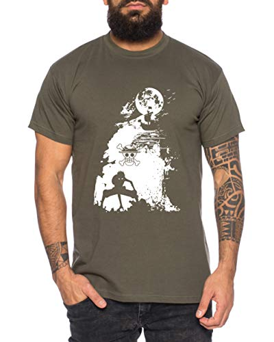 Ruffy Shiff Zorro Flying One Manga Herren Lamp Ruffy T-Shirt Anime Piece, Größe:L, Farbe:Khaki