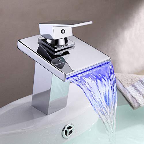 BFDMY Grifo Mezclador para Lavabo LED Cascada Square Flat Cromo Latón de Baño Grifo Monomando Agua Fría y Caliente con 3 Colores Cambio de Control de Temperatura,Chrome Faucet