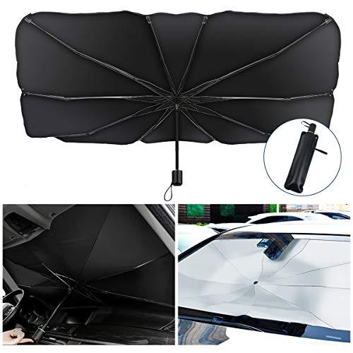 KIBTOY Auto Windschutzscheibe Sonnenschirm,Auto-Front Windschutzscheibe Sonnenschutz Regenschirm,Faltbares Design Einfache Lagerung für die meisten Autos und SUV
