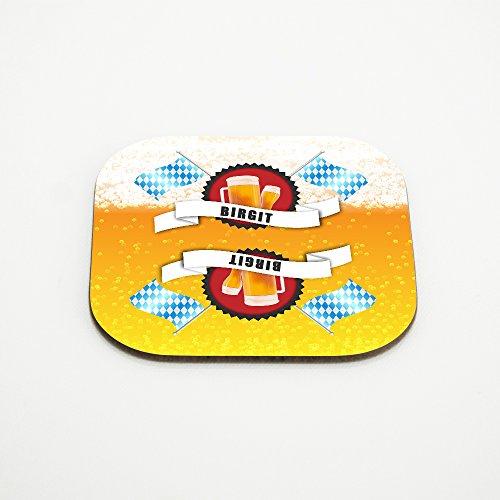 Untersetzer für Bier-Gläser mit Namen Birgit und schönem Bier-Motiv mit weiss-blauen Flaggen