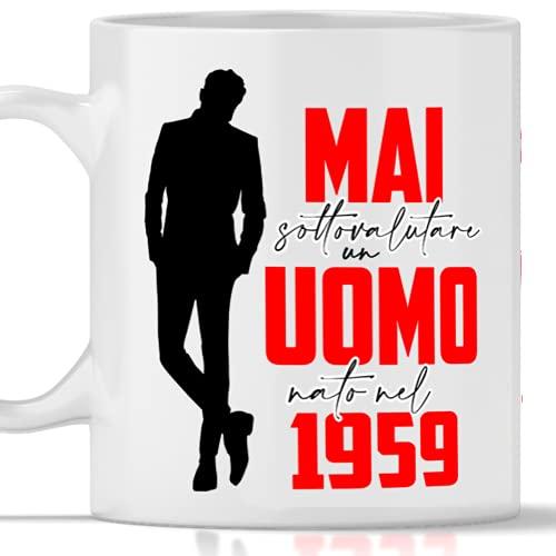 Taza 1959 cumpleaños hombre 62 años Idea regalo Nunca subestimar un hombre nacido en 1959