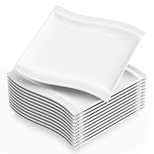 MALACASA, série Flora, 12 pièces 26 cm Blanc ivoire Porcelaine Chine en céramique Blanc crème Assiettes Plates