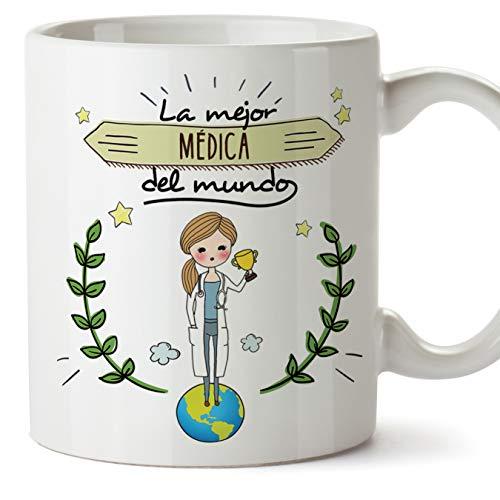 MUGFFINS Médica Tazas Originales de café y Desayuno para Regalar a Trabajadores Profesionales - La Mejor Médica del Mundo - Cerámica 350 ml