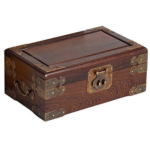 DLYDSSZZ Joyería de la Caja de Doble Capa de la joyería Caja de Almacenamiento con Cerradura de Madera Maciza de Jade Gem Box Collection con Espejo Regalo de Boda Cajas de Reloj