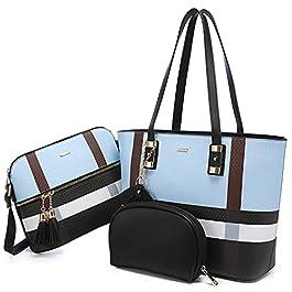 LOVEVOOK Lot de 3 sacs à main pour femme, sac à bandoulière, sac à bandoulière, sac fourre-tout, sac à main pour le…