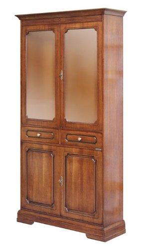 Glasvitrine Schrank aus Massivholz 2 Türen aus Holz 2 Türen aus Glas 2 Schubladen, Möbel Vitrine klassisch für Wohnzimmer Esszimmer Küche, Einrichtung im Stil italienisches Design, MONTIERT, B104xT34.5xH197.5 cm