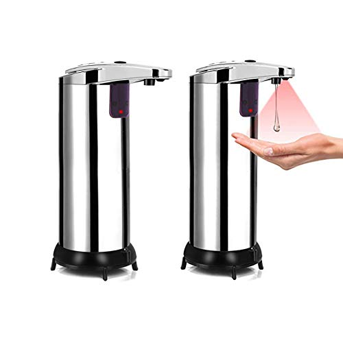Automatic Soap Dispenser, 2 Pack Touchless Soap Dispenser, Infrared Stainless Steel Automatic Soap Dispenser, Hands Free Soap Dispenser for Bathroom Kitchen Hotel Restaurant with Waterproof Base