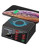 SUPERDANNY - Cargador inalámbrico con puerto PD, 10 W, con puerto USB C y carga rápida 3.0, estación de carga de 8 puertos para iPhone 11 Pro Max/iPad Pro/MacBook Pro, color negro