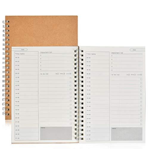 POKIENE 2Stk B5 to Do Liste Block & Wochenplaner   Spiralblock Notizblock - 100 Seiten & 19x13cm