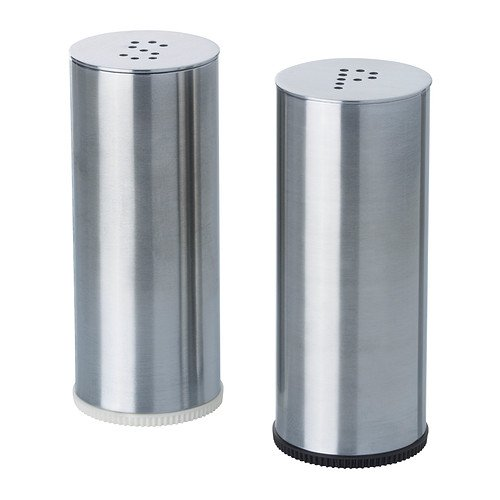 Ikea 802.336.75 Plats Salt and Pepper Shaker, Stainless Steel, Set of 2