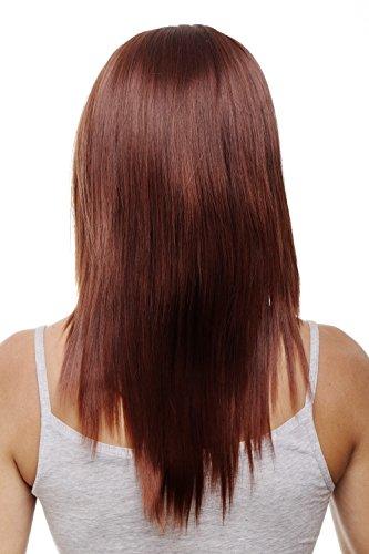 WIG ME UP - Clip-in Haarteil 5 Klammern 3/4 Perücke, Braun-Rot-Mix, Mahagonibraun & Kupferrot, ca. 50 cm, glatte Haare, Haarverlängerung HD1401-33T350