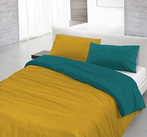 Italian Bed Linen Natural Color Parure Copri Piumino, 100% Cotone, ocra/verde bottiglia, MATRIMONIALE, 3 Unità