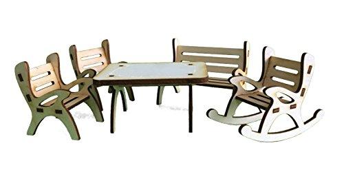 Petra S Bastelmaxi-gmh06fs2 News A 5 pièces Table Groupe, Comprenant 1 Table, 1 x Banc de Jardin, 1 x Fauteuil à Bascule et 2 chaises en Bois
