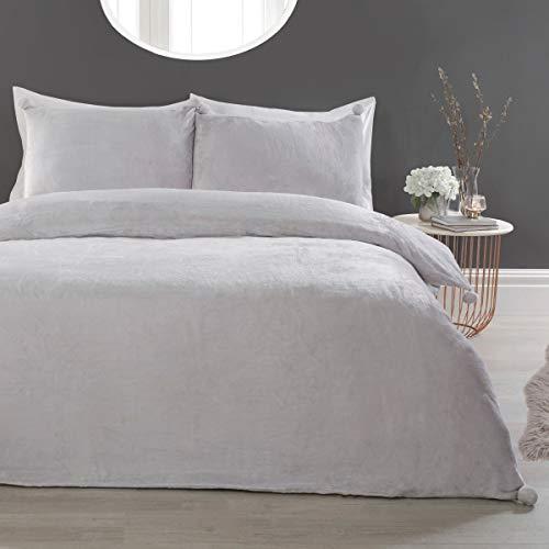 Sleepdown Pom Pom Silver Fleece Warm Cosy Super Soft Easy Care Plain Flannel Duvet Cover Quilt Bedding Set with Pillowcase - Single (135cm x 200cm)