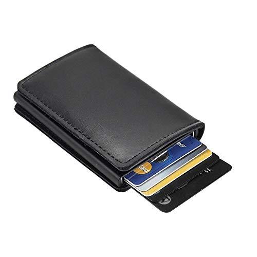 Dlife Tarjetero RFID Cartera Crédito, Cartera de Aleación de Aluminio Multiuso Bolsillos, Premium Cuero Exterior Automáticas Desplegables para Hombres y Mujeres (Caja Negro-2)