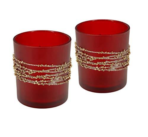 Teelichthalter aus Glas | Höhe 10cm | Windlicht 2er Set | Teelicht Kerzen-Halter mit Verzierungen