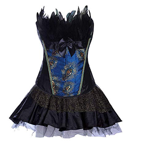 Dames gothic corsagejurk bustier met rok Burlesque petticoat pauw patroon fashion taille training figuur vormend shapewear corsage