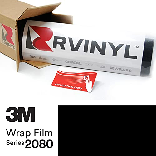 Rvinyl 3M 2080-G12 Vinyl Car Wrap Film Sheet Roll with Air Release Technology - 5ft x 1ft with Application Card, Gloss Black