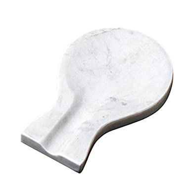 Creative Home 7.9  L x 5.4  W Natural Creamy White Marble Spoon Rest