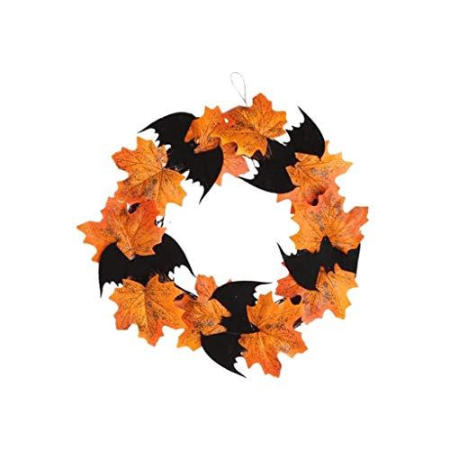 KANGIRU - Corona de murciélago colgante de hoja de arce para puerta de ventana, decoración de Halloween, decoración de Halloween, decoración de Halloween