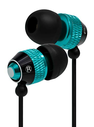 Bastex Universal Earphone/Ear Buds 3.5mm Stereo Headphones in-Ear Tangle Free Cable with Built-in Microphone Earbuds for iPhone iPod iPad Samsung Android Mp3 Mp4 and More-Blue/Black