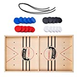 Fast Sling Puck Game,2 in 1 Wooden Table Ice Hockey Game,Catapult Winner Board Games Bumper Chess,Tabletop...