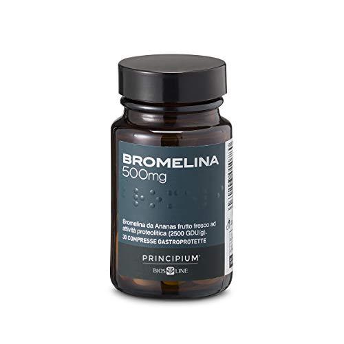 BIOS LINE Principium Bromelina 500 mg, Integratore alimentare con estratto d'ananas che favorisce il microcircolo, Integratore drenante contro la cellulite, 30...