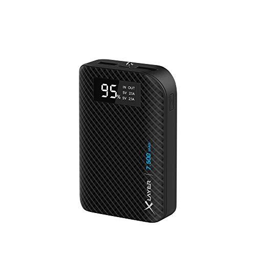 Xlayer Powerbank Pure Carbon 7.500mAh, Externer Akku für Smartphone und Tablet, 2 USB-Ports für simultanes Aufladen, Schwarz