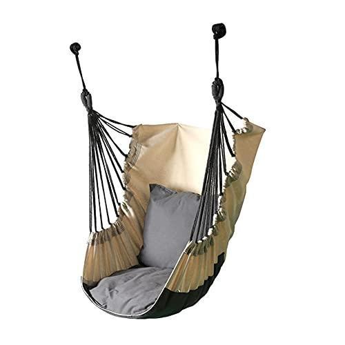 LYLY Columpio de cama columpio, hamaca silla colgante con 1 almohada para interior y exterior, niños adultos y niños (color: color gris)