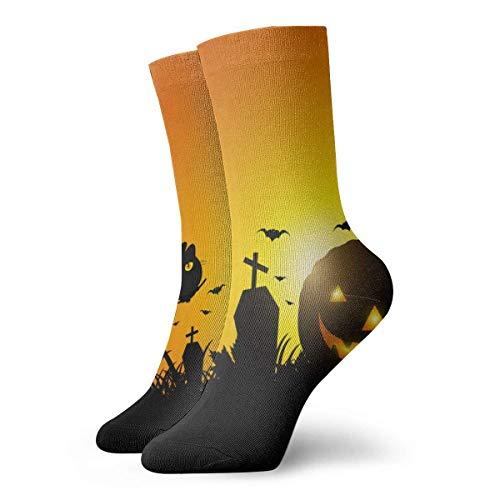 Calabaza de Halloween en la hierba novedad divertido Crazy Crew Sock Cool Unisex Sport Athletic Calcetines 30 cm de largo personalizado regalo calcetines 30 cm
