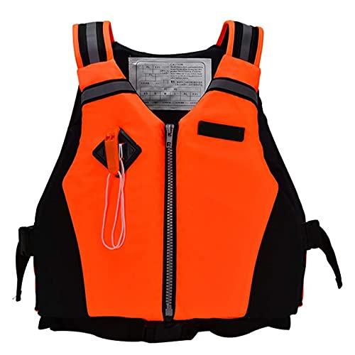 Chaleco De Flotabilidad Para Adultos, Chaleco Salvavidas De Pesca, Chaleco De Flotabilidad Para Kayak, Con Hebilla Ajustable Con Silbato, Adecuado Para Varios Deportes AcuáTicos,Naranja