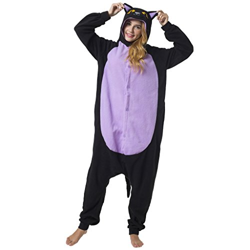 Katara 1744 -Katze schwarz Kostüm-Anzug Onesie/Jumpsuit Einteiler Body für Erwachsene Damen Herren als Pyjama oder Schlafanzug Unisex - viele Verschiedene Tiere