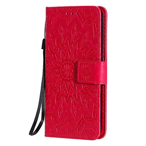 KKEIKO Hülle für Galaxy J4 Core, PU Leder Brieftasche Schutzhülle Klapphülle, Sun Blumen Design Stoßfest HandyHülle für Samsung Galaxy J4 Core - Rot