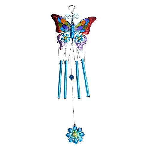 Yardwe - Campana de viento de mariposa en 3D, diseño de mariposas, color azul