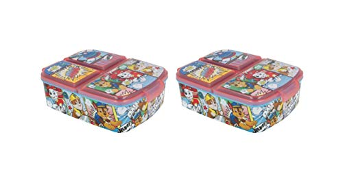 Pack 2 Sandwicheras con 3 Compartimentos para niños - lonchera Infantil - Porta merienda - Fiambrera Decorada (Patrulla canina niños)