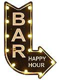 zeitzone Wandleuchte BAR Happy Hour mit LED Beleuchtung Wegweiser Vintage Leuchtdeko