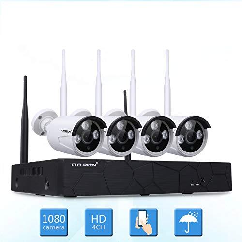 FLOUREON Kit de Surveillance sans Fils 1080P Caméra de Vidéosurveillance Étanche 4CH NVR Enregistreur...