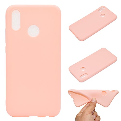 LeviDo Coque Compatible pour Huawei P20 Lite Étui Silicone Souple Bumper Antichoc TPU Gel Ultra Fine Mince Caoutchouc Bonbons Couleurs Design Etui Cover, Rose