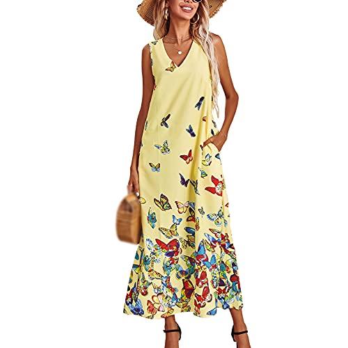 Vestido Sin Mangas con Estampado De Mariposas con Cuello En V Original De Verano para Mujer, Falda Larga Y Elegante, Vestido De Noche, Falda De Playa