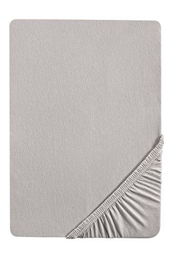 biberna 0077155 Jersey Spannbetttuch (Matratzenhöhe max. 22 cm) (Baumwolle) 90x190 cm -> 100x200 cm, sturmgrau