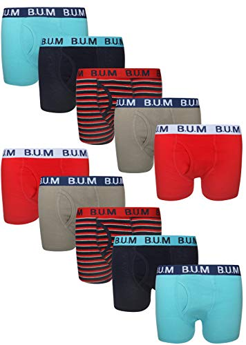 B.U.M. Equipment Boys Underwear - Cotton Boxer Briefs (10 Pack), Size Medium / 8-10, Blue Red Stripes