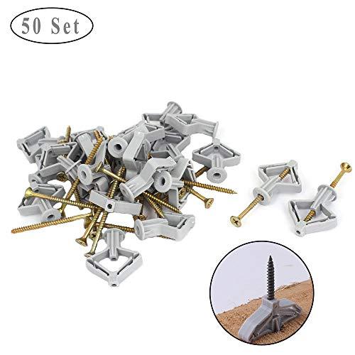 50 Sätze Gipskarton Hohlraumdübel, Schwerlastdübel M8, Expansionsschraube mit Butterfly-Expansionsrohr zur Wandmontage von Gipskartonplatten (M8x50mm)