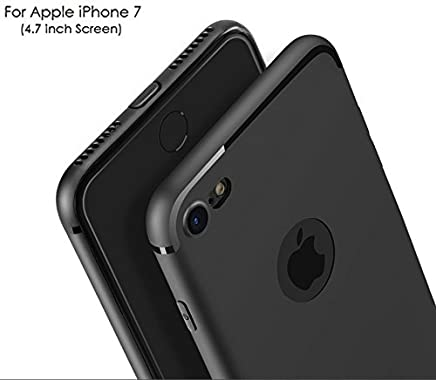 "For Apple iPhone 7 - WOW Imagine(TM) Soft Silicone All Sides Protection ""360 Degree"" With Anti Dust Plugs Shockproof Slim Back Case Cover For Apple iPhone 7- Pitch Black"