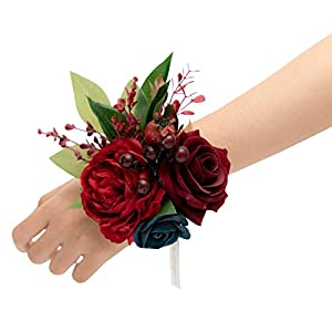 Ling's moment Burgundy & Navy Blue Artificial Flowers Bridesmaid Wrist Corsage Bracelet, Set of 6, for French Rustic Vintage Wedding, Bridal Shower, Wedding Ceremony Anniversary, Corsage Ribbon Prom